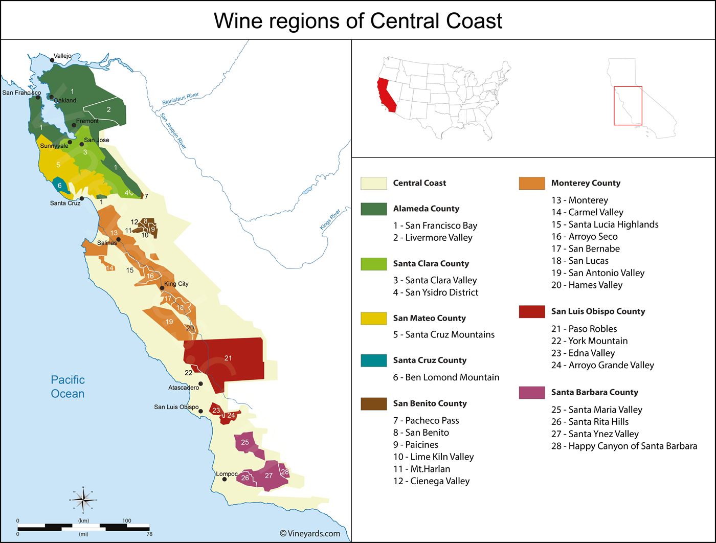 Wine Show Central Coast Wineries Map on