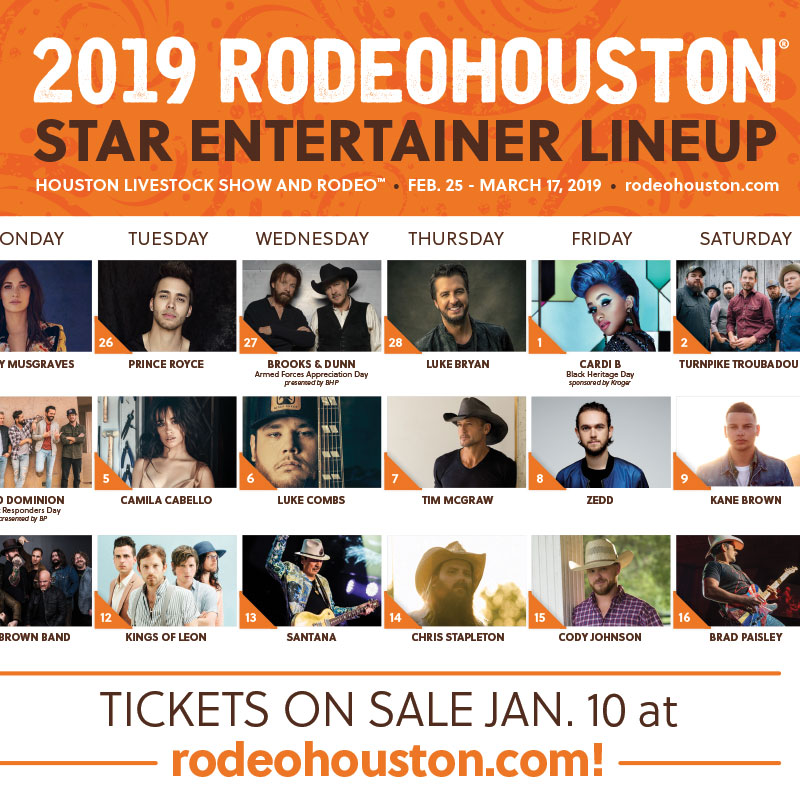 Houston Rodeo Calendar 2020 Houston Livestock Show and Rodeo™ Announces 2019 RODEOHOUSTON